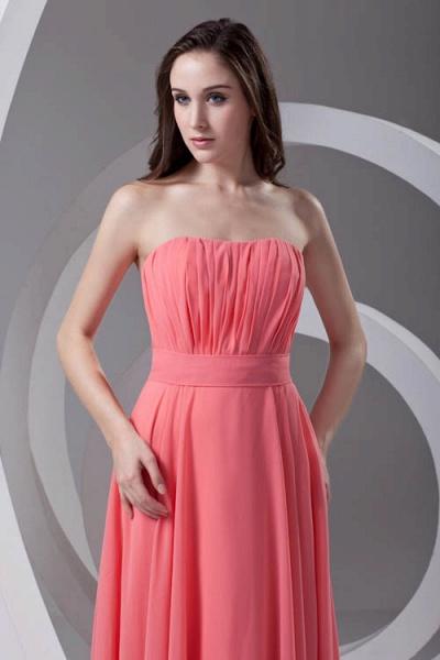 LILIAN | A-line Strapless Sleeveless Floor Length Chiffon Bridesmaid Dresses_4