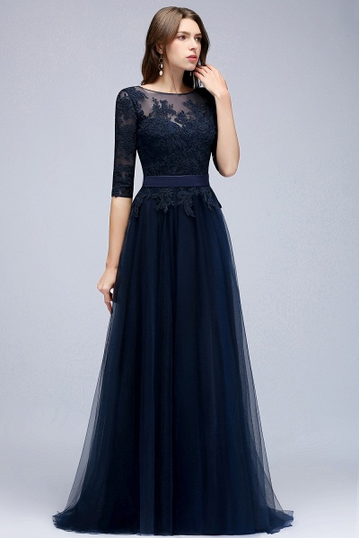 BMbridal Elegant Navy Half-Sleeves Lace Bridesmaid Dresses with Appliques_4
