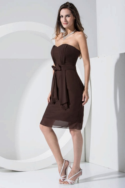 LACEY | A Type Heart-shaped Collar Knee Length Sleeveless Chiffon Chocolate Color Bridesmaid Dress with Bow Tie_3