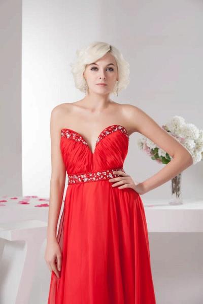 KYLA | A Type V-Neck Red Chiffon Bridesmaid Dress with Rhinestone_7