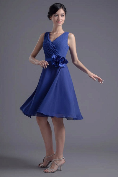 Excellent V-neck Chiffon A-line Bridesmaid Dress_4