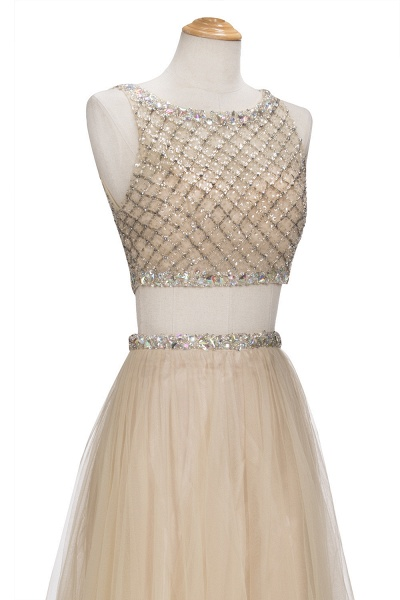 OPHELIA | A-line Two-piece Floor Length Sleeveless Tulle Prom Dresses with Crystals_4