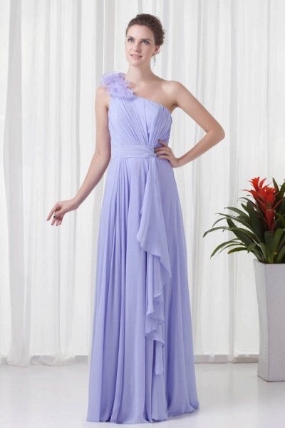 KYNLEM | A Type One Shoulder Chiffon Bridesmaid Dress with Flowers_7