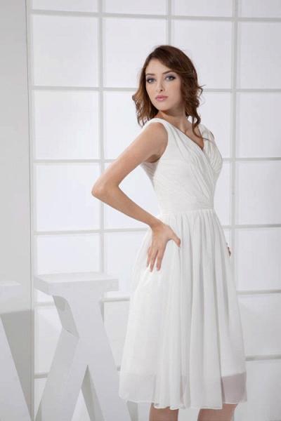 KIMBERLY | A Type V-Neck Chiffon White Bridesmaid Dress with Fold_9