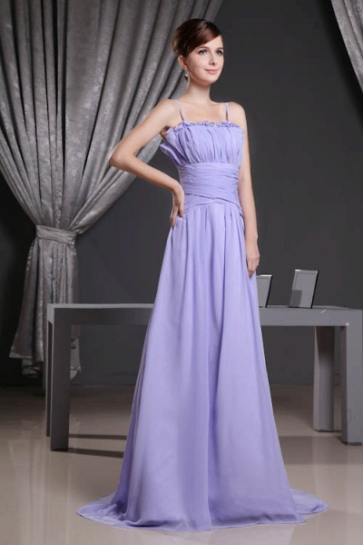 A Type Spaghetti Straps Chiffon Bridesmaid Dress with Fold_4