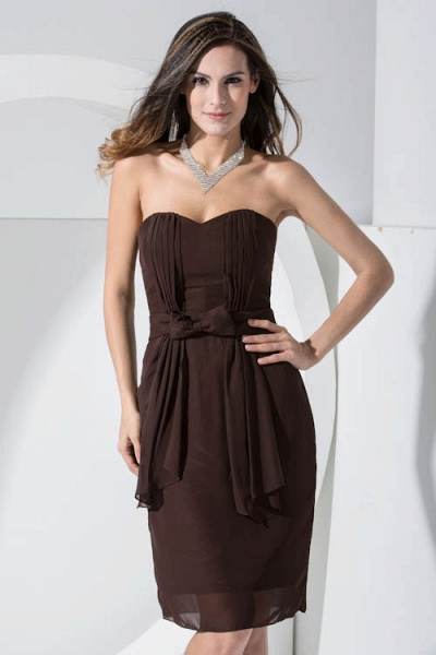 LACEY | A Type Heart-shaped Collar Knee Length Sleeveless Chiffon Chocolate Color Bridesmaid Dress with Bow Tie_4