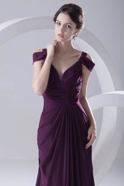 Glorious V-neck Stretch Satin A-line Bridesmaid Dress_7