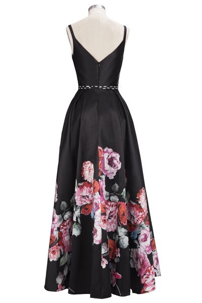 OLIVIA | A-line Floor Length Sleeveless Black Printed Flowers Prom Dresses_3
