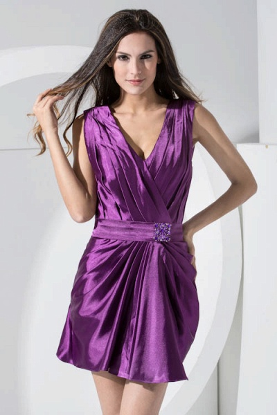LAILAH | A Type V-neck Knee Length Sleeveless Chiffon Grape Purple Bridesmaid Dress with Fold_4