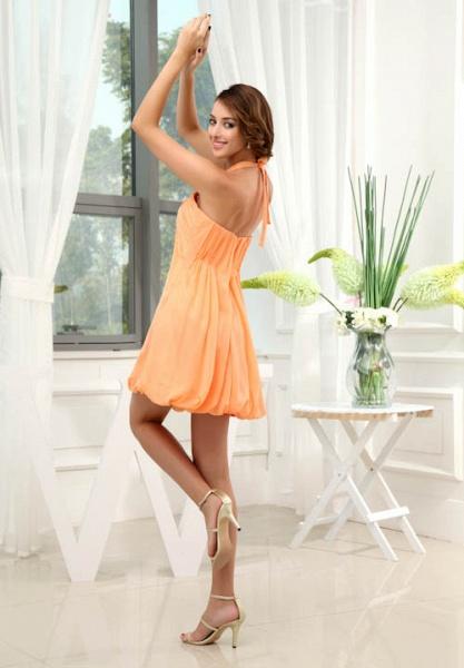 LANDRY | A Type Round Neck Knee Length Sleeveless Chiffon Orange Bridesmaid Dress with Small folds_5