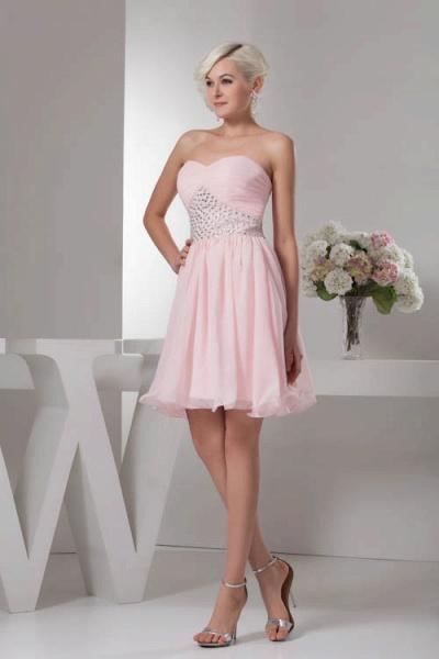 KRISTINA | A Type Heart Collar Chiffon Bridesmaid Dress with Rhinestone_7