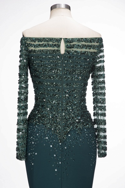 OLYMPIA | Mermaid Long Strapless Long Sleeves Prom Dresses with Sequins and Crystals_8