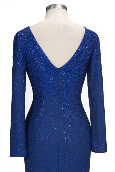 OPAL | Mermaid Long Sleeves Short Crystals Royal Blue Prom Dresses_7