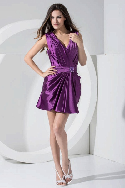 LAILAH | A Type V-neck Knee Length Sleeveless Chiffon Grape Purple Bridesmaid Dress with Fold_1