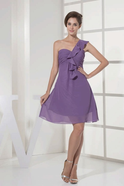 Exquisite One Shoulder Chiffon A-line Bridesmaid Dress_4