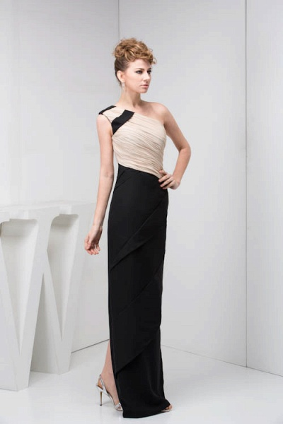 KRISTEN | A Type One Shoulder Black Chiffon Bridesmaid Dress with Fold_9