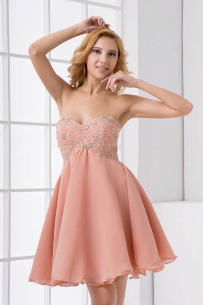 Awesome Strapless Chiffon A-line Bridesmaid Dress_9