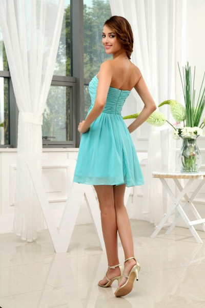 LANEY | A Type Heart-shaped Knee Length Sleeveless Chiffon Jade Green Bridesmaid Dress with Fold_3