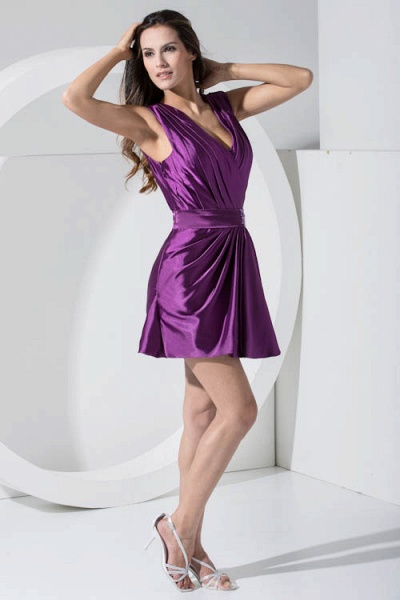 LAILAH | A Type V-neck Knee Length Sleeveless Chiffon Grape Purple Bridesmaid Dress with Fold_5