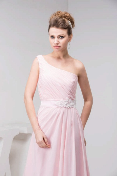 LAUREL | A Type Shoulder Drag To Long Sleeveless Chiffon Pink Bridesmaid Dress with Belt_6