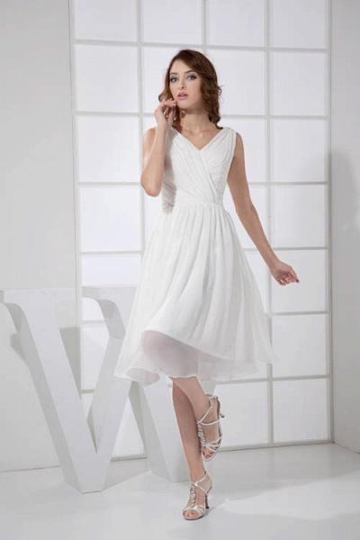 KIMBERLY | A Type V-Neck Chiffon White Bridesmaid Dress with Fold_4