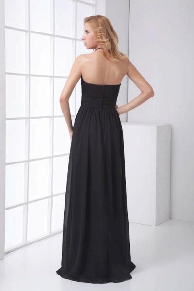 LEANNA | A Type Halter Long Sleeveless Chiffon Black Bridesmaid Dress with Lace_7