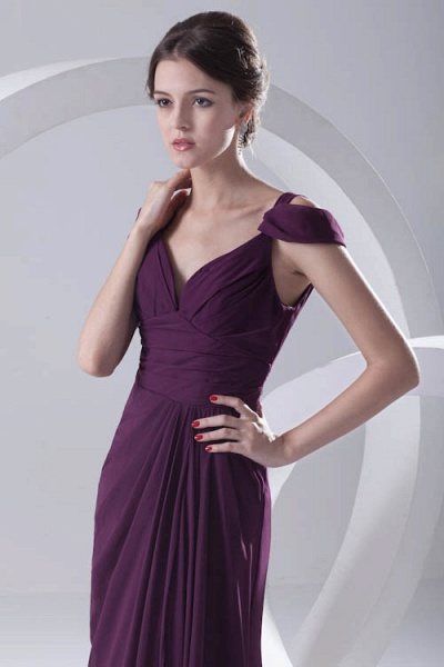 Glorious V-neck Stretch Satin A-line Bridesmaid Dress_9