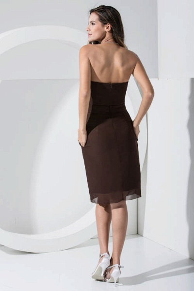 LACEY | A Type Heart-shaped Collar Knee Length Sleeveless Chiffon Chocolate Color Bridesmaid Dress with Bow Tie_6