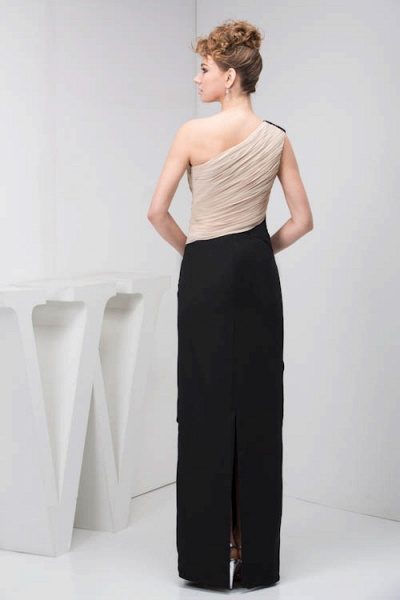KRISTEN | A Type One Shoulder Black Chiffon Bridesmaid Dress with Fold_6