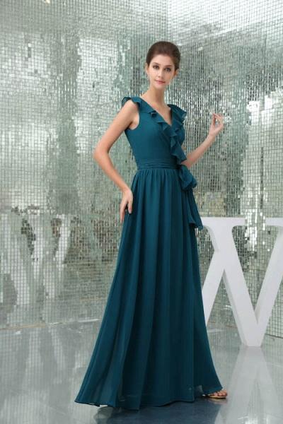 Affordable V-neck Chiffon A-line Bridesmaid Dress_5