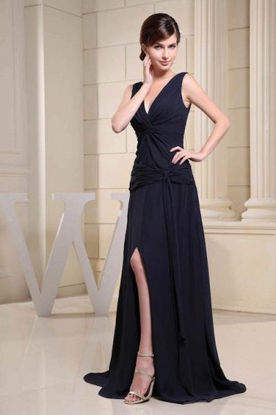 KIMORA | A Type V-Neck Chiffon Navy Blue Bridesmaid Dress with Fold_4