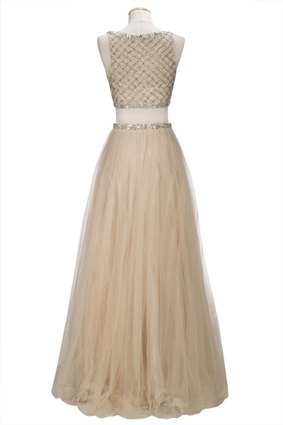 OPHELIA | A-line Two-piece Floor Length Sleeveless Tulle Prom Dresses with Crystals_3