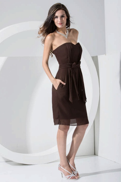 LACEY | A Type Heart-shaped Collar Knee Length Sleeveless Chiffon Chocolate Color Bridesmaid Dress with Bow Tie_5