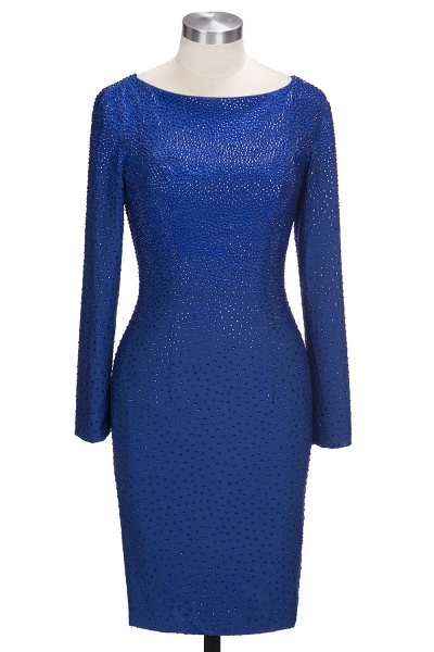 OPAL | Mermaid Long Sleeves Short Crystals Royal Blue Prom Dresses_1