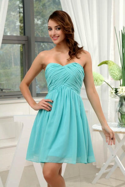 LANEY | A Type Heart-shaped Knee Length Sleeveless Chiffon Jade Green Bridesmaid Dress with Fold_4