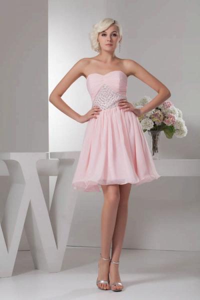 KRISTINA | A Type Heart Collar Chiffon Bridesmaid Dress with Rhinestone_1