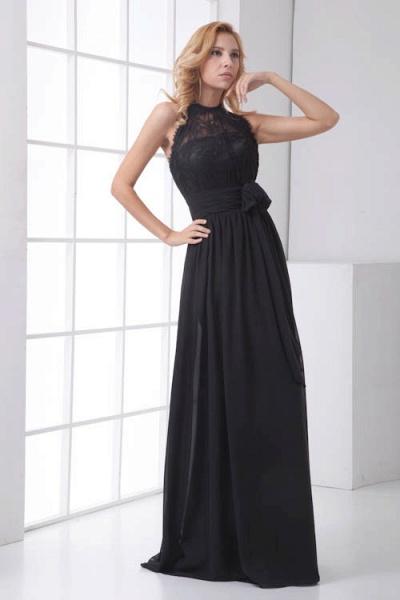 LEANNA | A Type Halter Long Sleeveless Chiffon Black Bridesmaid Dress with Lace_4