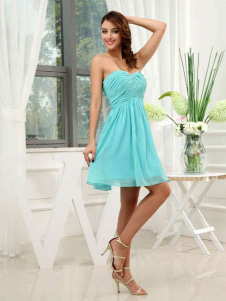 LANEY | A Type Heart-shaped Knee Length Sleeveless Chiffon Jade Green Bridesmaid Dress with Fold_6