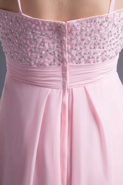 LEA | A Type Heart-shaped Short Before Long Sleeveless Chiffon Candy Pink Bridesmaid Dress with Fold_8