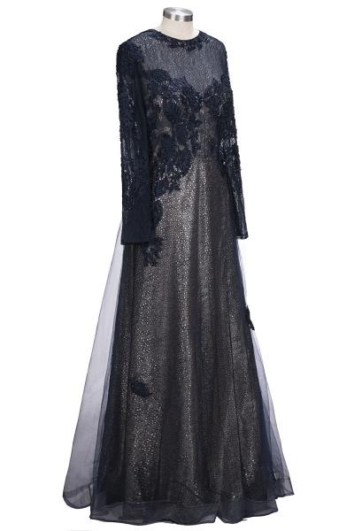 ODETTE | A-line Long Sleeves Floor Length Appliqued Tulle Prom Dresses_4