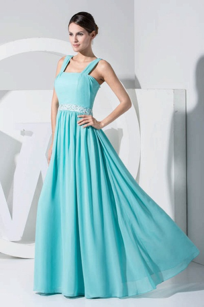 Latest Straps Chiffon A-line Bridesmaid Dress_4