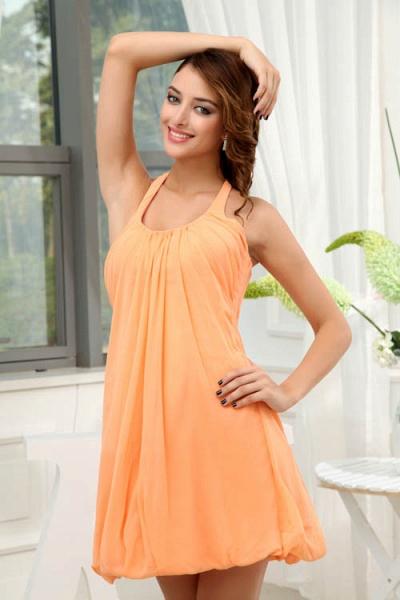 LANDRY | A Type Round Neck Knee Length Sleeveless Chiffon Orange Bridesmaid Dress with Small folds_6