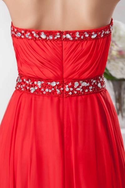 KYLA | A Type V-Neck Red Chiffon Bridesmaid Dress with Rhinestone_9