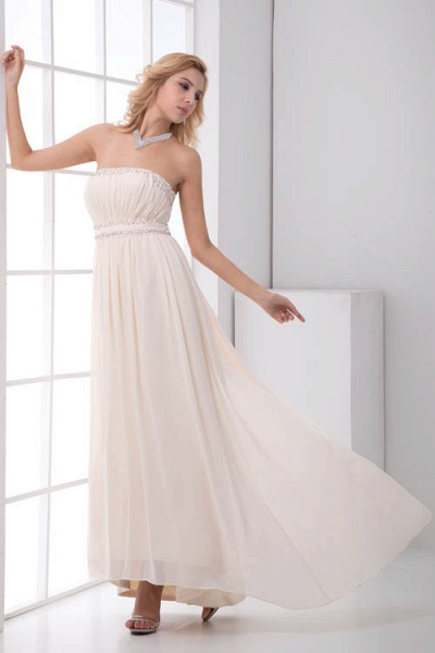 LEIA | A Type Bra Long Sleeveless Chiffon White Bridesmaid Dress with Small folds_3
