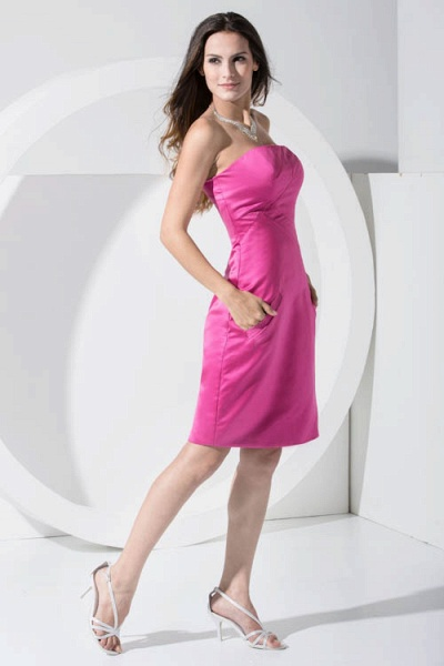 LAINEY | A Type Bra Knee Length Sleeveless Chiffon Rose Red Bridesmaid Dress with Pocket_7