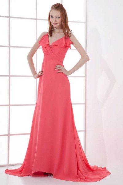 LEAH | A Type V-neck Drag To Long Sleeveless Chiffon Watermelon Red Bridesmaid Dress with Front Split_5