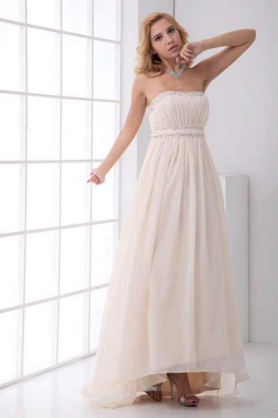 LEIA | A Type Bra Long Sleeveless Chiffon White Bridesmaid Dress with Small folds_4