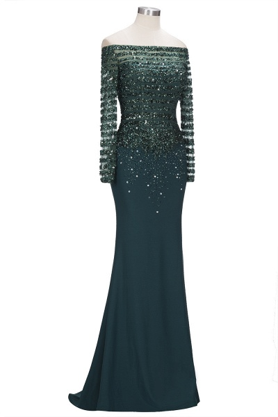 OLYMPIA | Mermaid Long Strapless Long Sleeves Prom Dresses with Sequins and Crystals_4