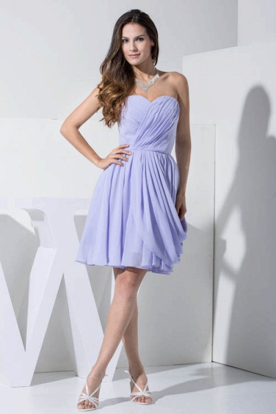 KIMBER | A Type Heart Collar Chiffon Lavender Violet Bridesmaid Dress with Fold_1