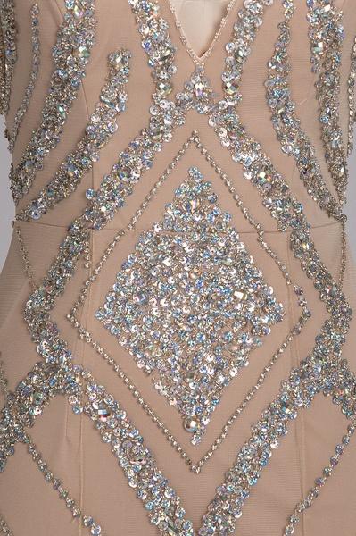 NAN | Mermaid V-neck Floor Length Sleeveless Sequins Prom Dresses_5